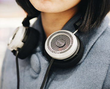 Person with headphones on