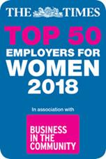 The Times top 50 employers for women 2018 award logo.
