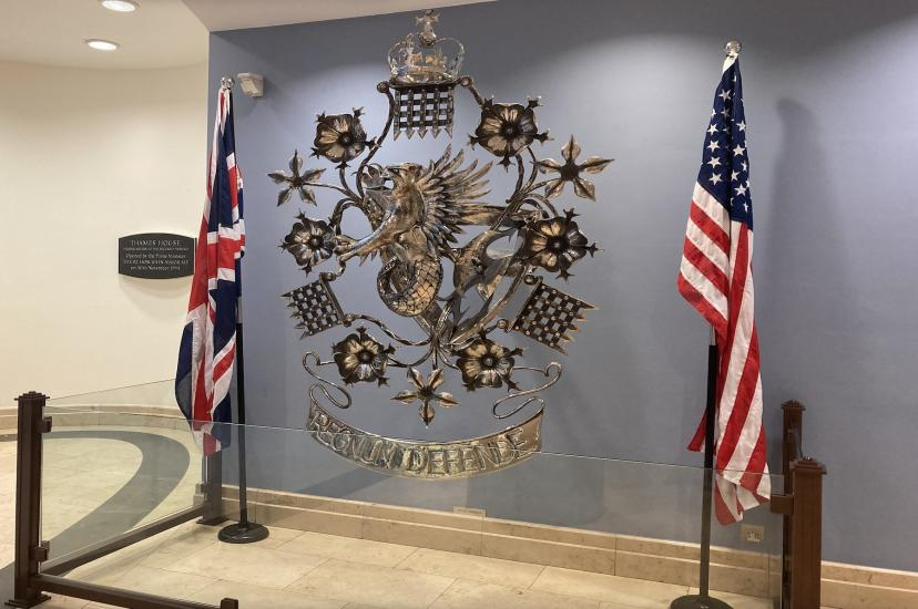 The UK and US flags alongside each other in the entrance of Thames House