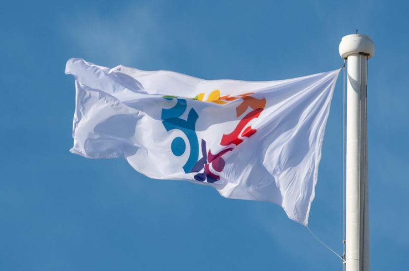 A flag with an inclusion logo flying