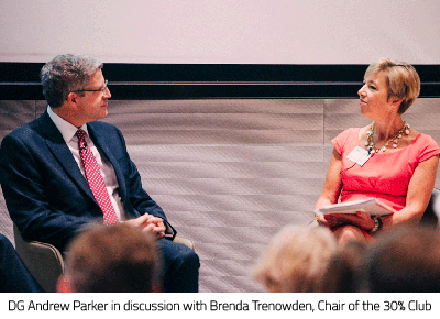 Andrew Parker in discussion with Brenda Trenowden, Chair of the 30% Club