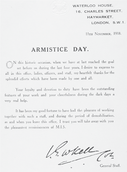 Armistice Day letter from Vernon Kell to MI5 staff