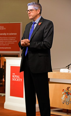 Andrew Parker addresses an audience at the Royal Society
