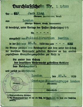 Roberts' Gestapo identity card in name of Jack King