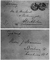 Envelopes sent by Lody from Edinburgh, 26 September 1914