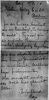 Letter sent by Lody on 14 September 1914