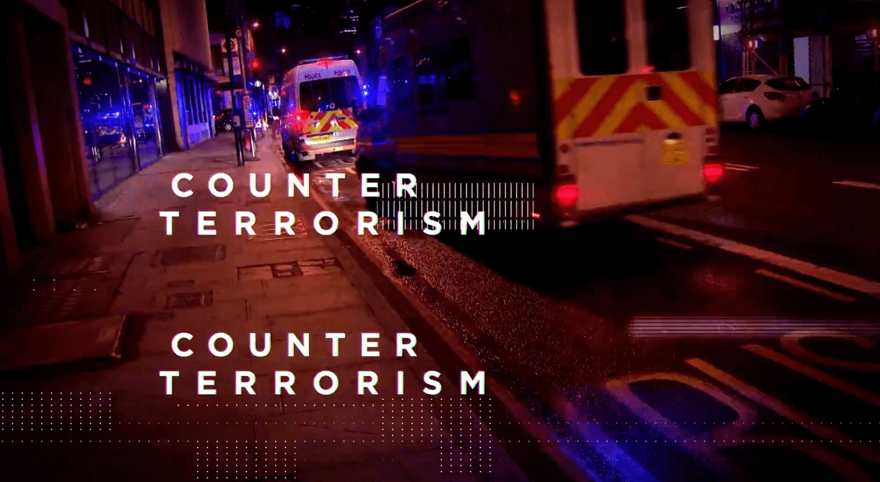 'Counter terrorism' written over an image of a police car